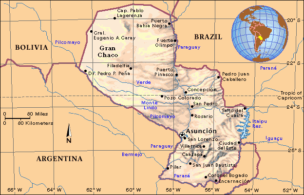 physical maps of paraguay. Map of Paraguay