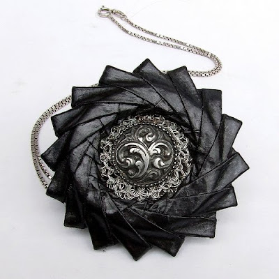 black and graphite origami necklace