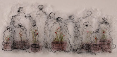 The Greenhouse II, textile art embroidery by Susanne Gregg