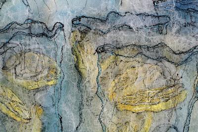 Lemonade detail, textile art embroidery by Susanne Gregg