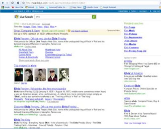 Live Search SERP on search for the word ELVIS