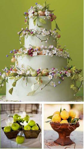 Fruit and flower adorned wedding cake from Wildflower Custom Cakes via