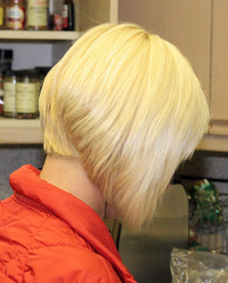 blonde short inverted bob hairstyles back view