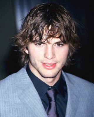 this men's hair style is Ashton Kutcher. Long, textured and disheveled,