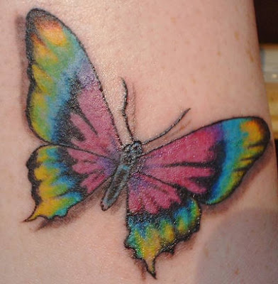 8 blue butterfly tattoos and 8 heart-shaped princess emblem tattoos for