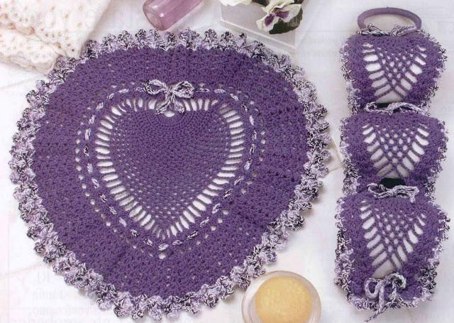 Juego De Baño Navideno A Crochet: crochet Gabriela: Juego para baños morado de piña tejidos en crochet