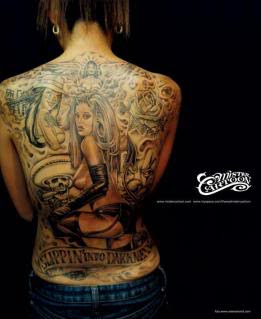 Sexy Pin-ups Back Body Tattoo