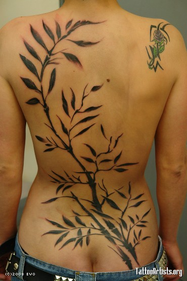Japanese Bamboo Tattoo on Back Girl. Japanese Tattoo Art. Posted by Blogger