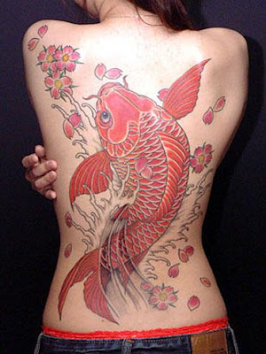 Japanese Koi Tattoo on Back Body Girl