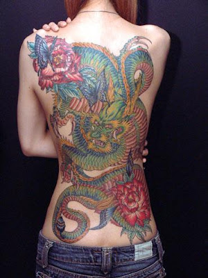 Japanese Dragon Tattoos on Sexy Back Girl