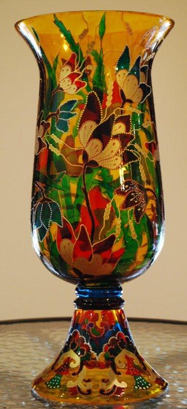VASIONATE Hand painted glass Vase Sampina