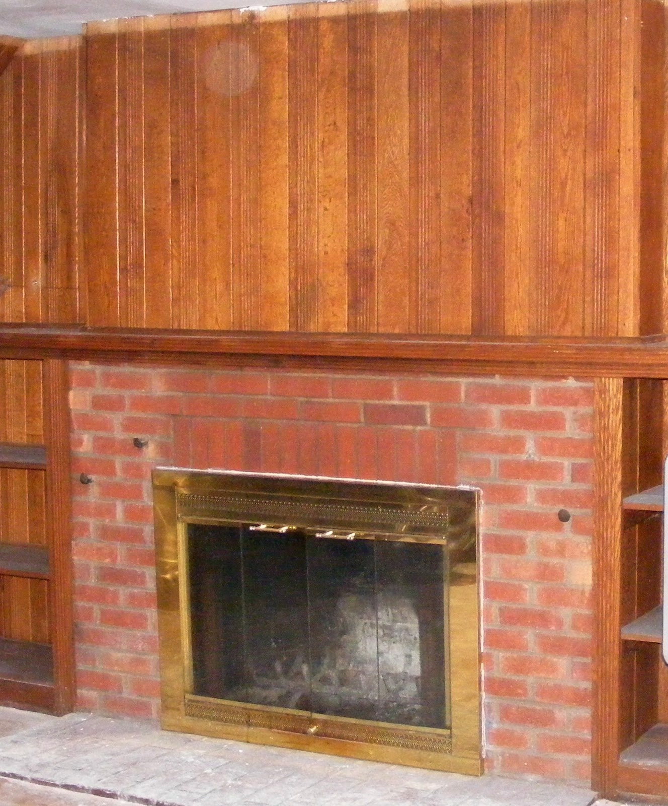 Covering a brick fireplace - How To Cover A Brick Fireplace