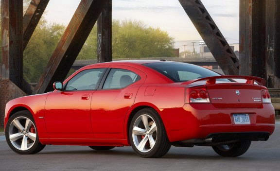 Rear 3/4 view of red 2011 Dodge Charger SRT-8
