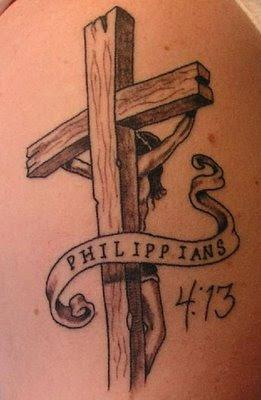 Wood Cross Tattoo