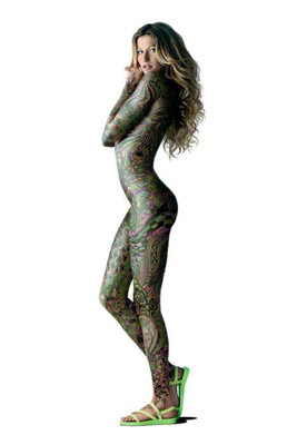 Beautiful Celebrity Body Painting - Gisele Bundchen