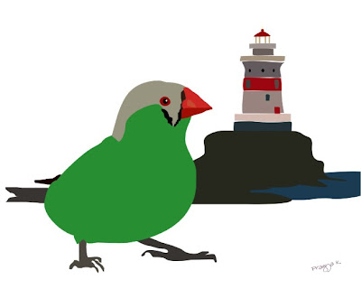 Wootsy's lighthouse, bird art of the day