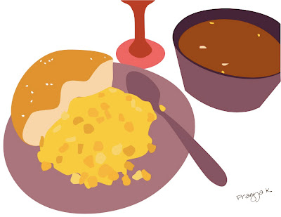 What I ate today, food illustration, Saute corn niblets, everything bagel and hot and sour soup