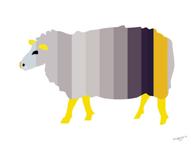 Sheep art of the day, striped sheep, sheep art