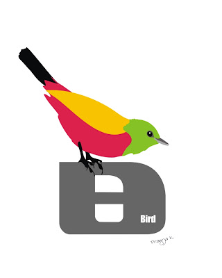 b is for bird, alphabet poster