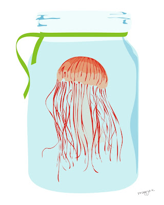 Jelly fish in a blue jar illustration
