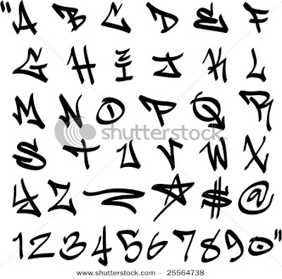 graphic vector graffiti alphabet letter a z and numbers 0 9