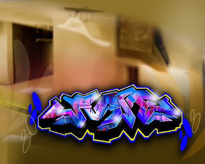 3d graffiti alphabet bubble. Blue Digital 3D Arrow Graffiti