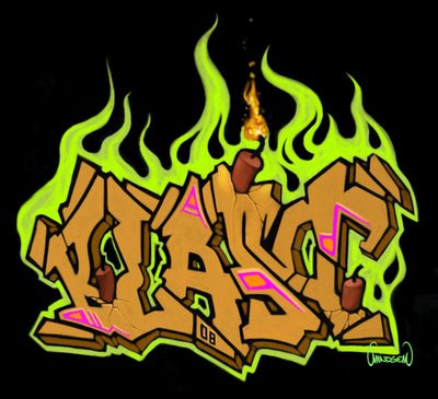"Graffiti Alphabet ""Green Fire Bomb"". A digital graffiti made with a digital"