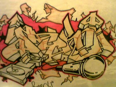 "Printabel arrow Graffiti Alphabet ""Music"" on Paper"