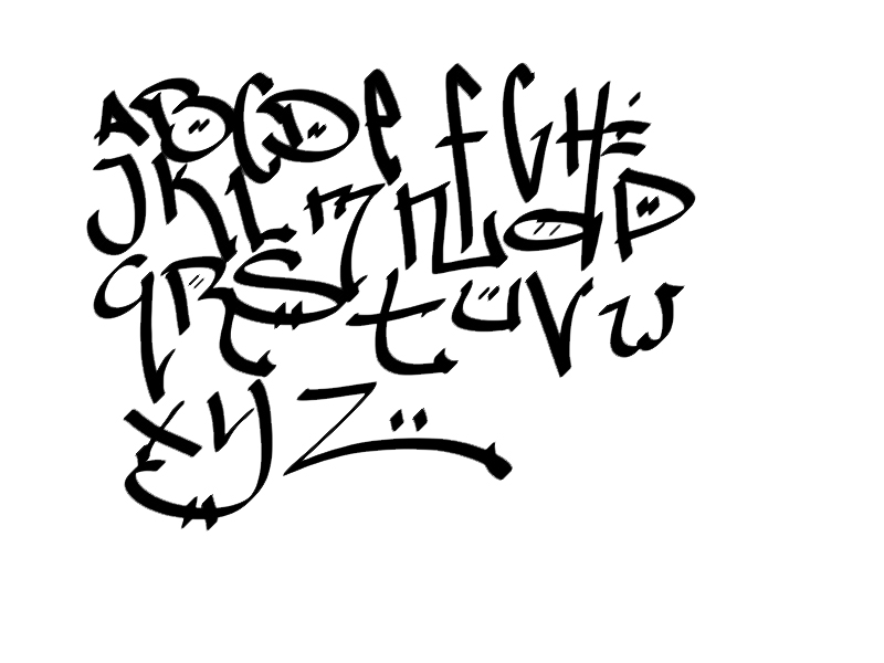 Nice Graffiti Style: Several Designs Sketches of Graffiti Letters Alphabet