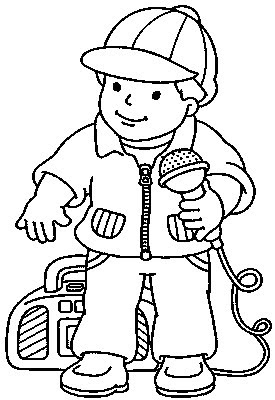 Boy With Microphone Sings Kids Coloring