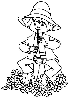 Boy Plays on a Flute Kids Coloring Pages Disney Coloring Pages