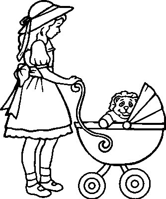 baby carriage kids coloring pages