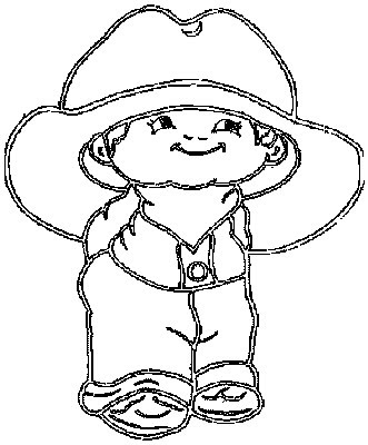 Little cowboy with a big cowboy hat Kids Coloring Pages