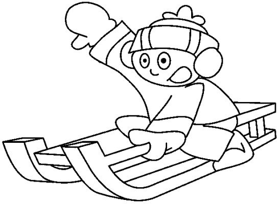 Sledding Boy - Kids Coloring Pages title=
