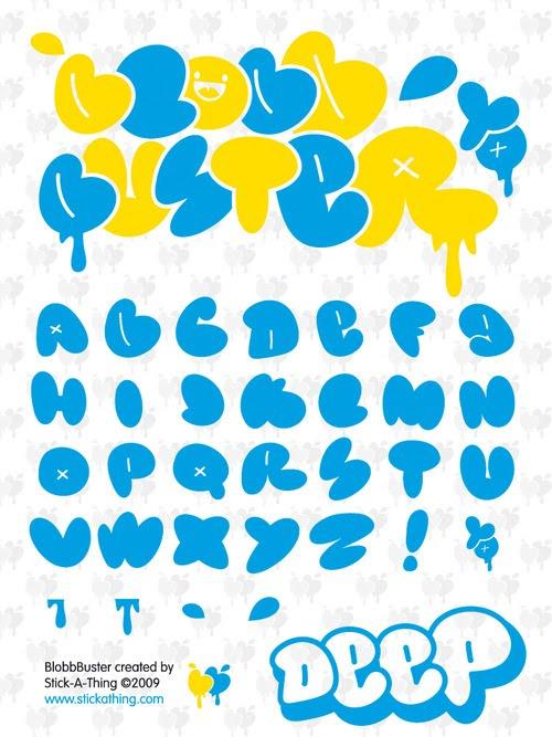 Lettter a z in graffiti alphabet bubble - Graffiti alphabet bubble ...