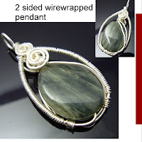 2 sided green line jasper stone wirewrapped pendant