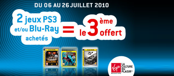 Jeux PS3 / Blu-Ray : offre exclusive Virgin Store