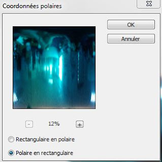 """Figure 4: La fenêtre de paramètres """"Coordonnées polaires"""" de Photoshop."""
