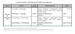 SPM TIMETABLE 2010 ADDITIONAL MATHEMATICS