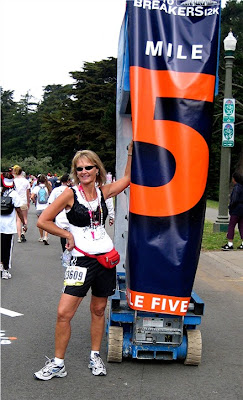 Olga, the Traveling Bra supports her friends during the 2008 Bay To Breakers