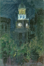 Paisaje Nocturno, Óleo s/tela,  9 x  15