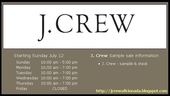 J crew aficionada j crew loves the sample sale 4th for 120 east 16th street 4th floor new york ny 10003