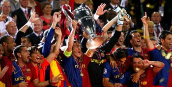 FC Barcelona winning the 2008/2009 UEFA Champions League