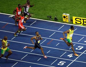 Usain Bolt winning the IAAF World Championships 100m in Berlin in 9.58 seconds