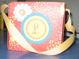 purse, Stampin Up, Paper Trey Ink, Just Rite monogram, K and Company, Wild Saffron