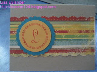 card,paper crafting, Stampin Up, Paper Trey Ink, Just Rite monogram, K and Company, Wild Saffron