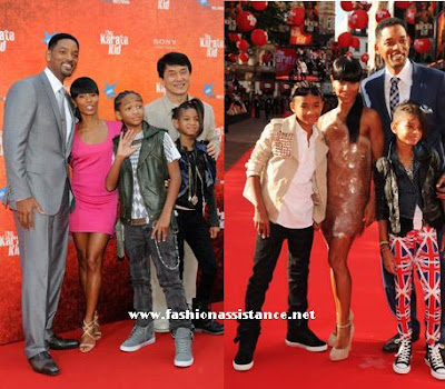 Actors Will Smith, Jada Pinkett Smith, Jade n Smith, Jackie Chan and