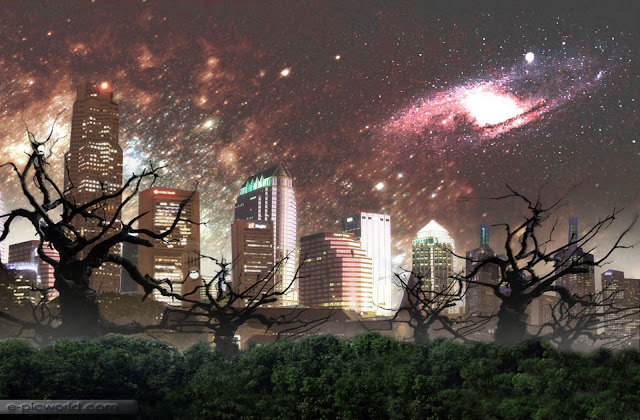 city and galaxy matte painting wallpaper