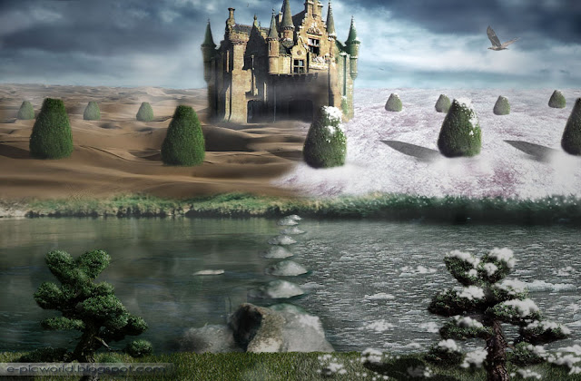 hot and cold matte painting wallpaper