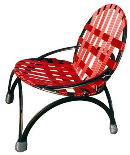 Modern furniture made from recycled steel and aluminum bicycle